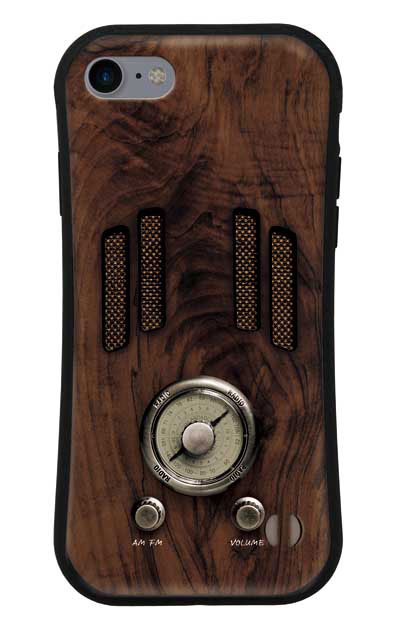 iPhone7のグリップケース、ヴィンテージラジオ【スマホケース】