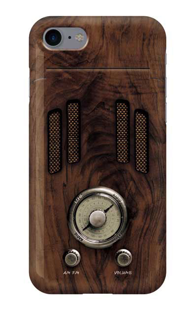 iPhone8のミラー付きケース、ヴィンテージラジオ【スマホケース】