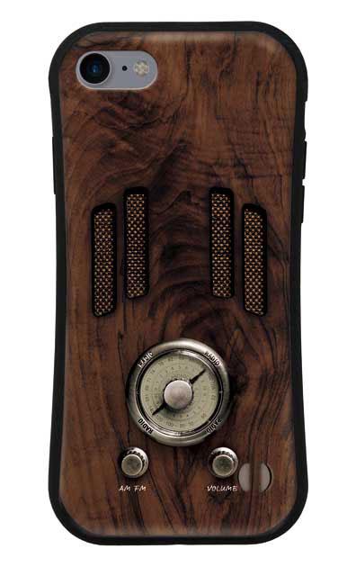 iPhone8のグリップケース、ヴィンテージラジオ【スマホケース】