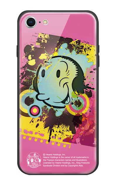 iPhone8のガラスケース、笑顔のオリーブ【スマホケース】