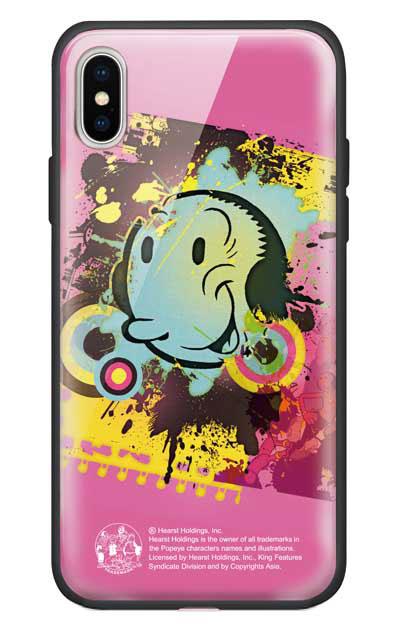 iPhoneXのガラスケース、笑顔のオリーブ【スマホケース】