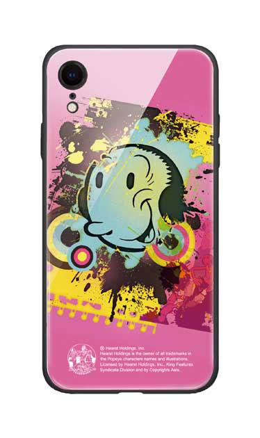iPhoneXRのガラスケース、笑顔のオリーブ【スマホケース】