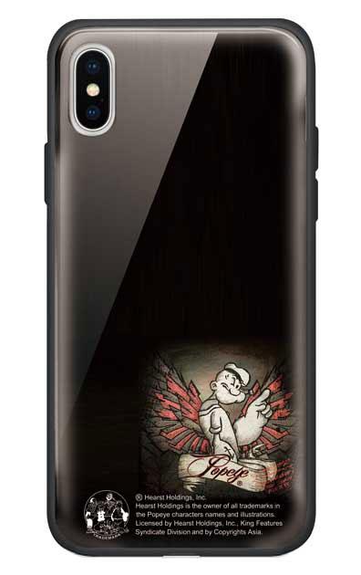 iPhoneXのガラスケース、1番ポパイ【スマホケース】