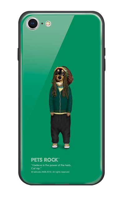 iPhone8のガラスケース、《PETS ROCK》Reggae【スマホケース】