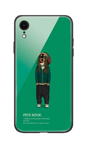 iPhoneXRのガラスケース、《PETS ROCK》Reggae【スマホケース】