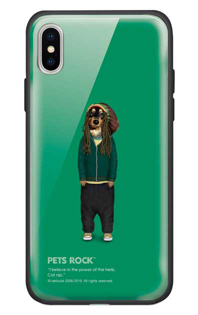 iPhoneXSのガラスケース、《PETS ROCK》Reggae【スマホケース】