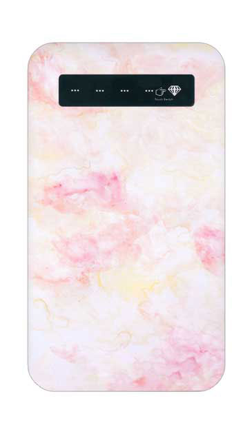 iPhoneXSのケース、ふんわりピンクマーブル【モバイルバッテリー】